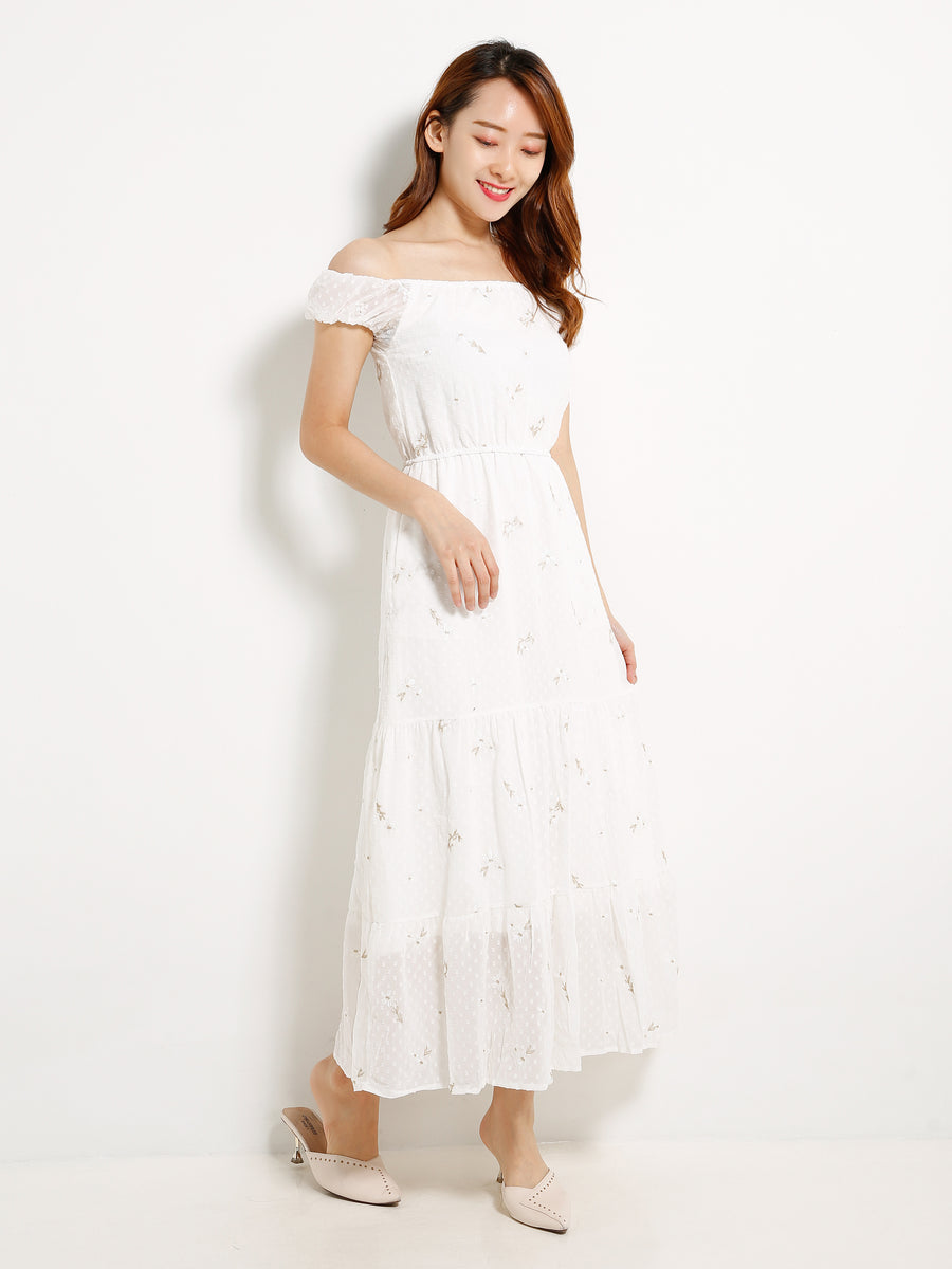 Off Shoulder Ruffle Hem Dress 13099
