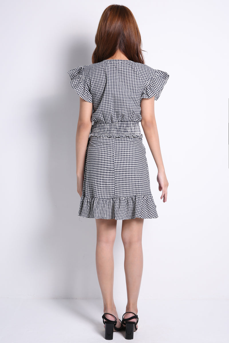 Checker Top With Skirt Set 9178
