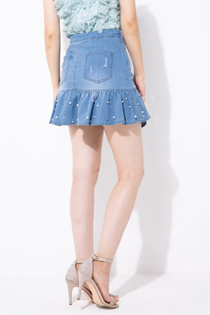 Denim Skirt Pants 4203 - ample-couture