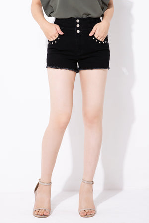 Stud Detail Shorts 4185 - ample-couture