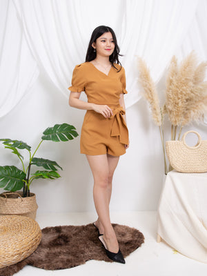 Puff Sleeve Top With Pants Set 11262