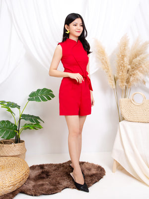 Sleeveless Playsuit With Tie Up Belt 11254