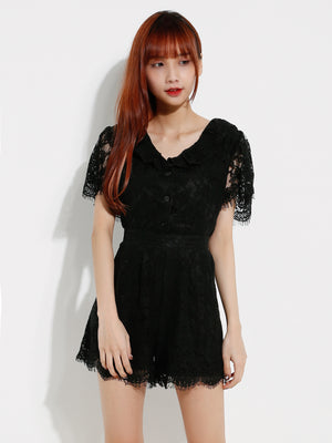 Lace Top With Lace Short Pants Set 12611