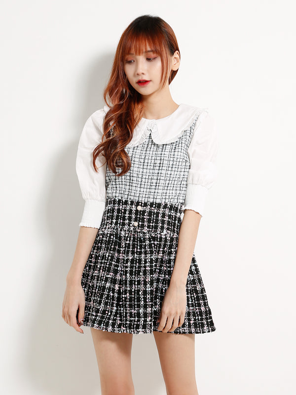 Peter Pan Collar Checker Top 13192