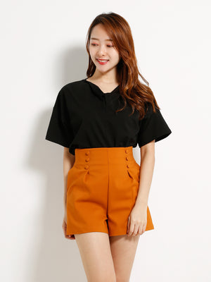 Fake Side Button Short Pants 13179