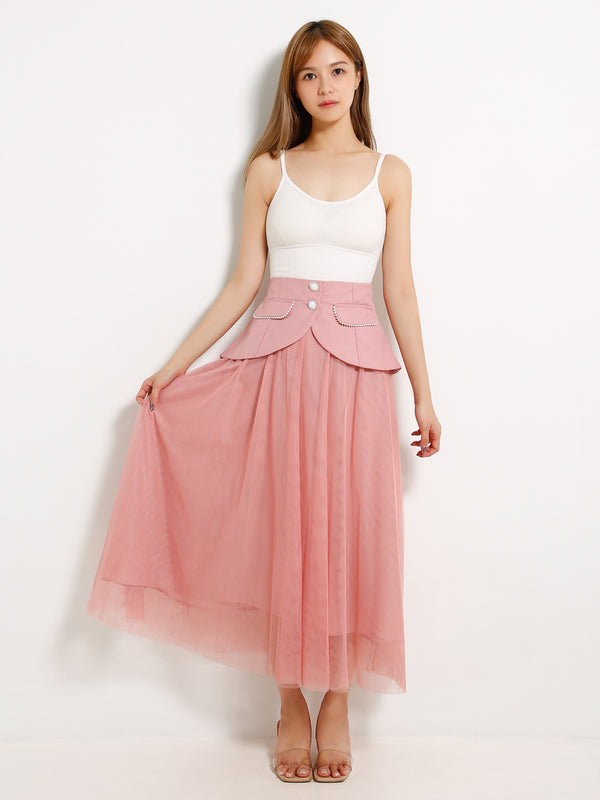 Fake Button Net Skirt 1311