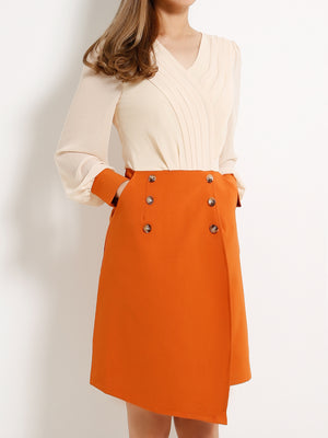 Fake Button Dual Tone Dress 13106