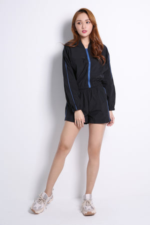 Front Zip Top With Short Pants Set 10595