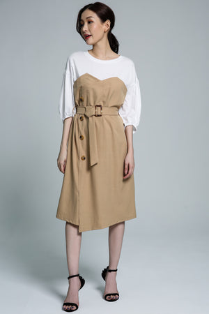 Button Dress 1741 Light Brown Dresses