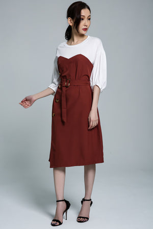Button Dress 1741 Dark Brown Dresses