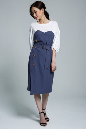 Button Dress 1741 Blue Dresses