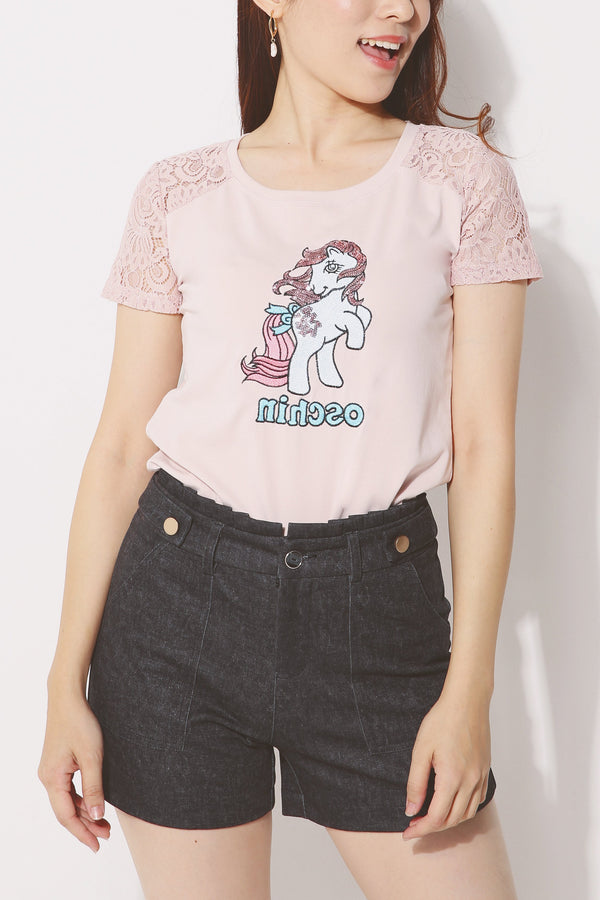 Sequined Lace Graphic Tee (Unicorn) 4250 - ample-couture