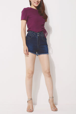 Denim Pearl Embellished Shorts 4258 - ample-couture