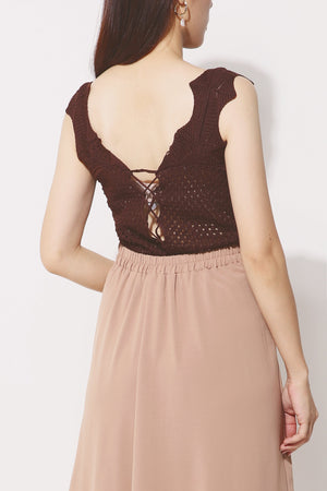Crochet Lace up Top 4263 - ample-couture