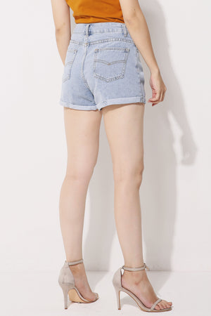 Denim Rolled Hem Shorts 4273 - ample-couture
