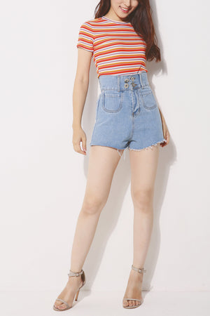 Denim Button Shorts 4280 - ample-couture