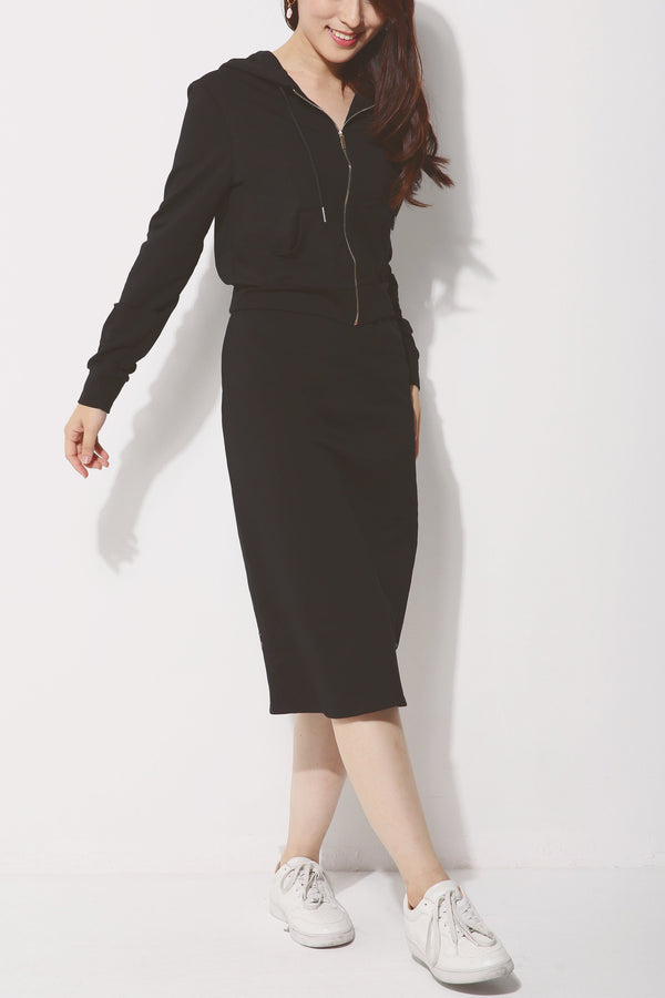 Zip Hoodie with Midi Skirt Set 4261 - ample-couture