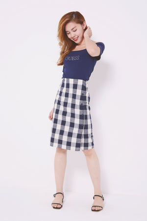 Gingham Printed Skirt 4549 - ample-couture