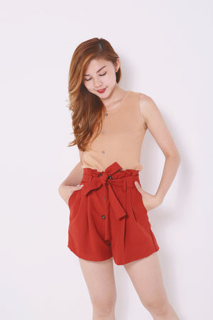 Paperbag Buttoned Shorts 4554 - ample-couture