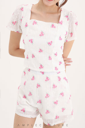 Flower Top With Short Pants Set 7985 Sets