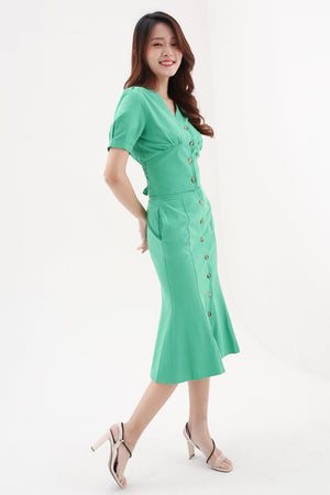 Front Button Top With Long Skirt Set 8131 Sets