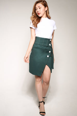 Buttoned Midi Skirt 4093 - ample-couture