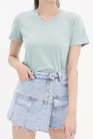 Cut Denim Short Pants 8554
