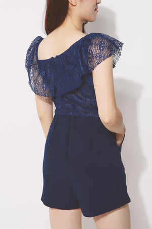 One Shoulder Eyelet Lace Romper 4245 - ample-couture