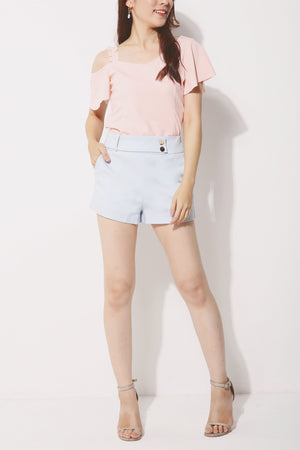Button Flare Shorts 4253 - ample-couture