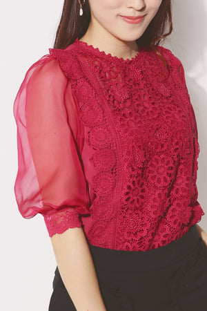 Crochet Detail Blouse 4255 - ample-couture