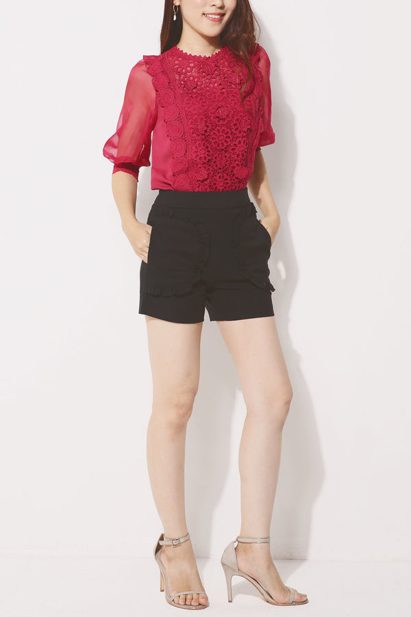 Frill Flare Shorts 4257 - ample-couture