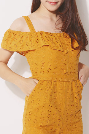 Open Shoulder Eyelet Romper 4241