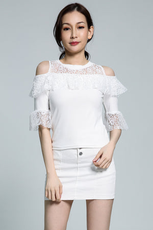 Open Shoulder Lace Top 1794