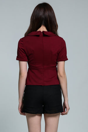 Collar V-Neck Top 1801 - Ample Couture
