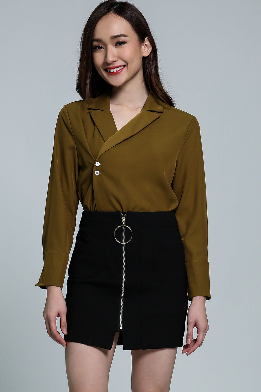 V-Neck Collar Top With Button Detail  2111 Green Tops