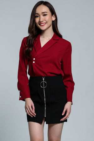 V-Neck Collar Top With Button Detail  2111 Red Tops