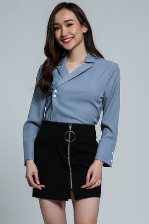 V-Neck Collar Top With Button Detail  2111 Blue Tops