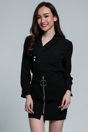 V-Neck Collar Top With Button Detail  2111 Black Tops