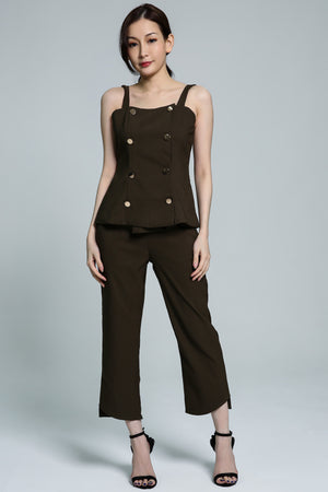 Button Top with Long Pant Set 1809