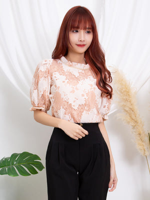 Printed Lace Top 11308
