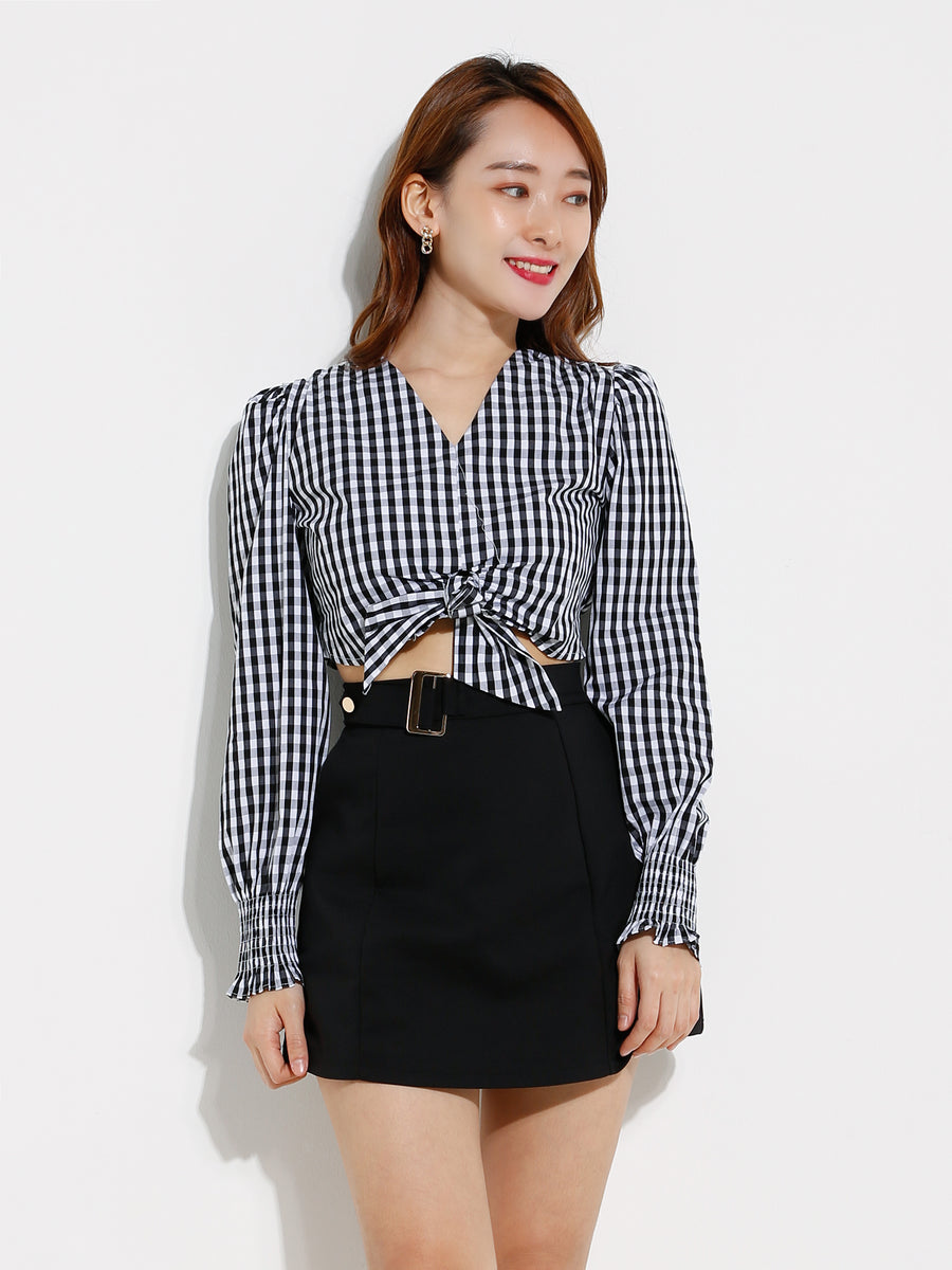 V Neck Checker Top 12684