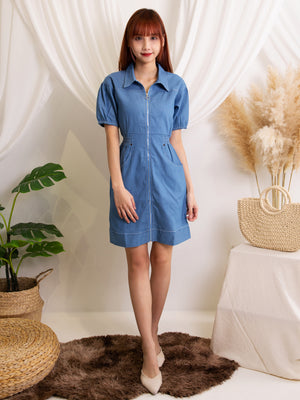 Front Zip Denim Dress 12044