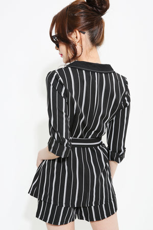Stripes Print Outer With Short Pants Set 0966