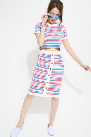 Stripes Knit With Skirt Set 1003