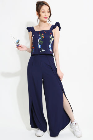 Embroidery Top with Long Pants Set 0967 - Ample Couture