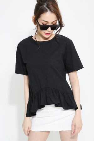Short Sleeve Pleated Blouse 0970