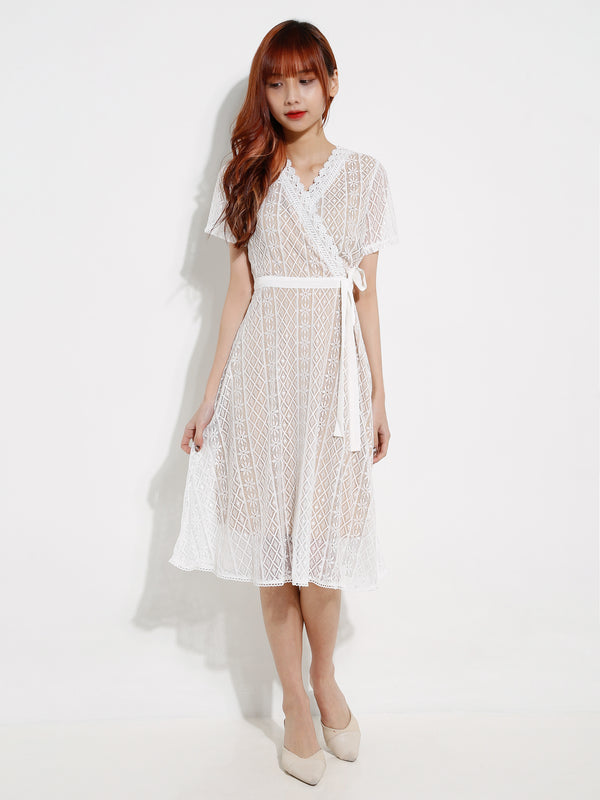 V Neck Lace Dress 12615