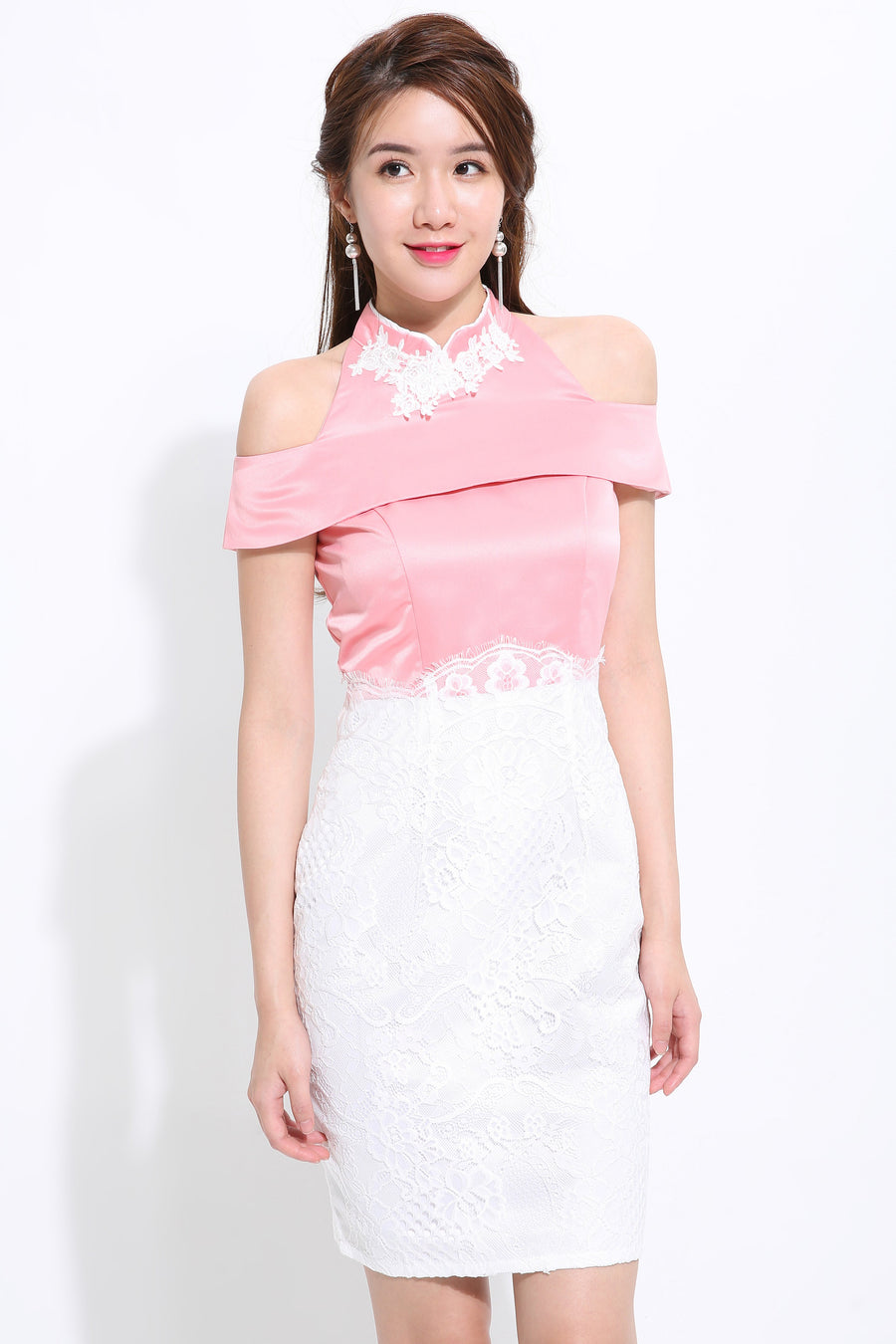 White Lace Cheongsam 1471 - ample-couture