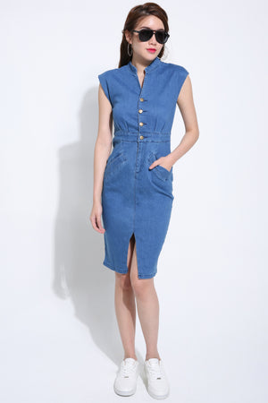 Denim Fitted Dress 1494 - ample-couture