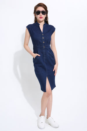 Denim Fitted Dress 1494